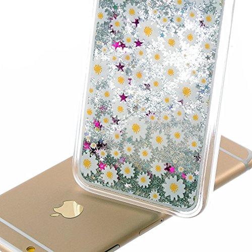 Coque iPhone 5S, Housse iPhone SE, Hamyi Liquide Bling Paillettes Sables Mouvants avec étoiles Rigide Etui pour Apple iPhone 5 et iPhone 5s et iPhone SE (Licorne) Petit Marguerite Daisy