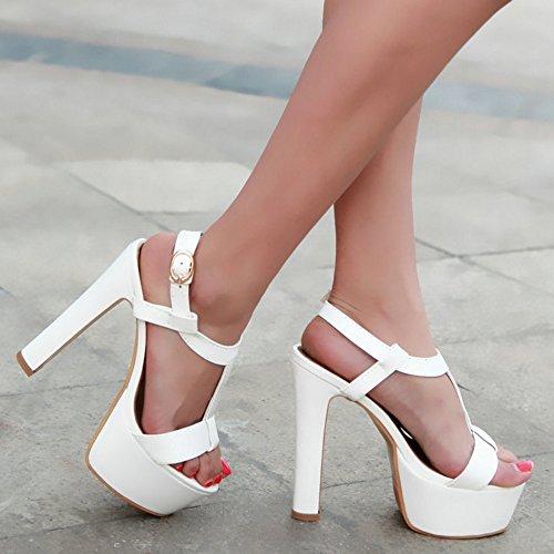 COOLCEPT Damen Mode T-Spangen Sandalen Open Toe Slingback Blockabsatz Schuhe White