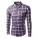 Herren Freizeithemd,MEIbax Herren Casual Langarm Plus Size Lattice Printed Button Shirt Top Bluse,Super Modern Super Qualität Kariert Doppelfarbig Auch Fürs Oktoberfest Geeignet