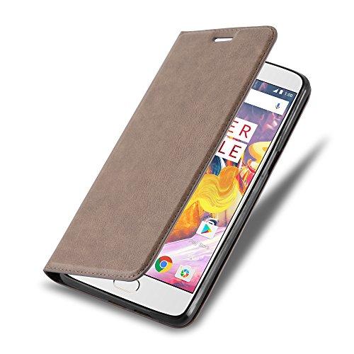 Cadorabo Hülle für OnePlus 3 / 3T - Hülle in Kaffee BRAUN – Handyhülle mit Magnetverschluss, Standfunktion und Kartenfach - Case Cover Schutzhülle Etui Tasche Book Klapp Style