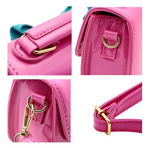 Scheppend moda bambina borsetta Borse bambini monospalla borsa duplice scopo laccate borsa in pelle Rosy Rosy