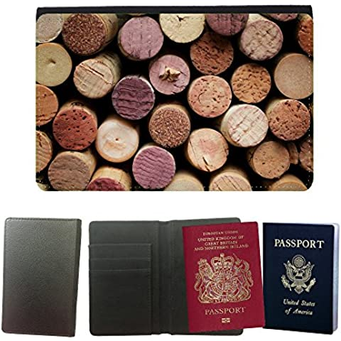 Passeport Voyage Couverture Protector // V00001996 corcho del vino // Universal passport leather cover