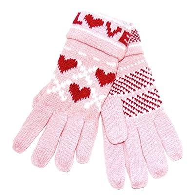 Dulce Mujer Guantes de punto de lana suave forro Guantes Cálido con corazones multicolor Love Rosa Talla única