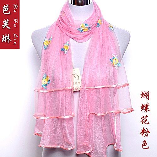 Upper-new double Sequins longue Écharpe de soie avec broderie Dentelle pour femmes écharpes Butterfly pink