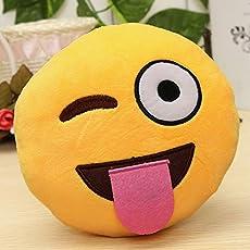 Triad basics Naughty Emoji Smiley Plush Cushion Pillow Soft Toy, 35cm