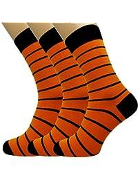 Loonysocks, 3 Paires de Chaussettes à Haute Teneur en Coton Coloré, Noir et Orange, Pour Homme
