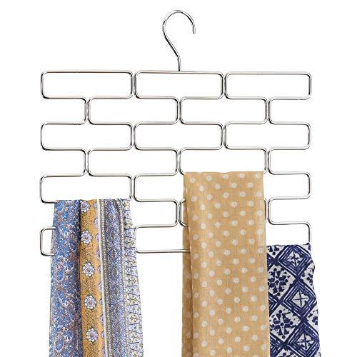 mDesign Schalbügel - platzsparender Schalhalter für den Kleiderschrank - hängender Schalorganizer mit 18 Fächern - silberfarben