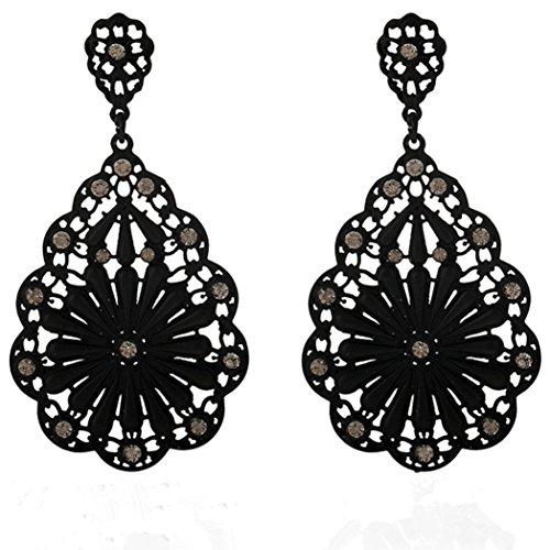 FAMILIZO Moda de señora elegante del oído del Rhinestone Flor Stud caliente 1 par (Negro)