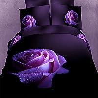 beddingleer cotone moderno 4-Piece effetto 3d big Dewy Rosa Viola Set Copripiumino/trapunta 100% cotone quattro stagioni 400fili stampato set di biancheria da letto, King