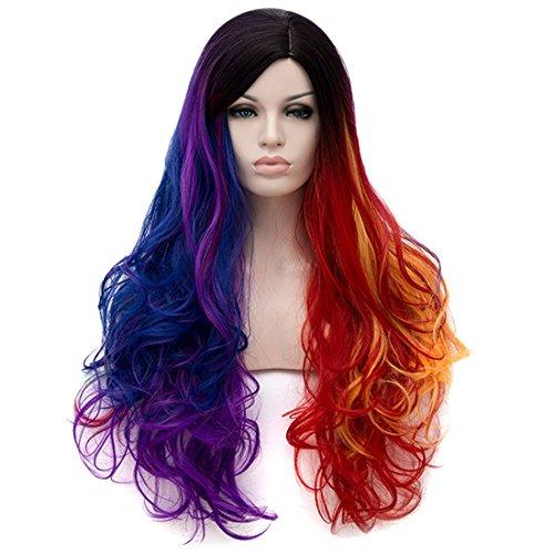 Art und Weise 5 Regenbogen-buntes gemischtes Haar-chromatische Perücke-natürliches langes lockiges gewelltes volles Haar Cosplay Partei-Halloween-Kostüm-Perücken 29.53 Zoll + Perücke Mütze