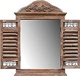 amadeco Wunderschönes Spiegelfenster Rundbogenfenster Spiegel mit Fensterläden Klappläden - aus Holz - Landhaus Shabby Chic Vintage Stil - Braun