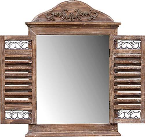 fenster spiegel holz amadeco Wunderschönes Spiegelfenster Rundbogenfenster Spiegel mit Fensterläden - aus Holz - Landhaus Stil - Braun