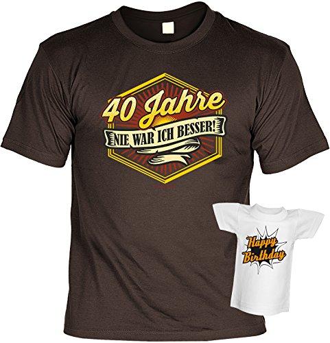 T-Shirt Set zum 40. Geburtstag - 40 Jahre NIE WAR ICH BESSER - Plus gratis Happy Birthday Minishirt! Braun