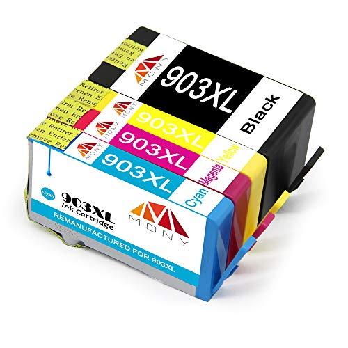 Mony Remanufacturado Cartuchos de Tinta HP 903 XL 903XL (1 Negro, 1 Cian, 1 Magenta, 1 Amarillo) Compatible con HP OfficeJet Pro 6950 6960 6970 All in One Impresoras