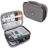 BUBM Travel Cable Bag, Ultra-compact Electronics Gadget Organiser Case for Data Cables, Chargers, Plugs, Memory Cards, CF Cards and More-a Sleeve Pouch Fits for iPad Mini (Medium, Denim Grey)