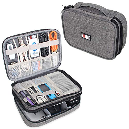 BUBM Estuche para Eléctricas Organizador de Accesesorio Bolsa de Viaje para Cables Cargador,Gadget de Memoria USB Bolsillo para iPad Mini(Mediado, Vaquero Gris)