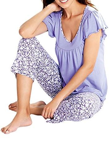Cybele by Galeja Damen Pyjama kurzer Arm Shirt + Hose Gr. 40 Schlafanzug