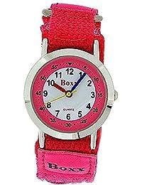 BOXX Anlagoge Kinderuhr für Mädchen in pink mit weißem Ziffernblatt und zweifarbigem Armband mit Klettverschluss