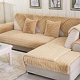 HUANZI Sofabezug SofaüBerwurf L-Form Schnittsofa Winter Gestreifte PlüSchsofa Abdeckung FüR Das Wohnzimmer/Haustiere, Yellow, 90 * 210cm