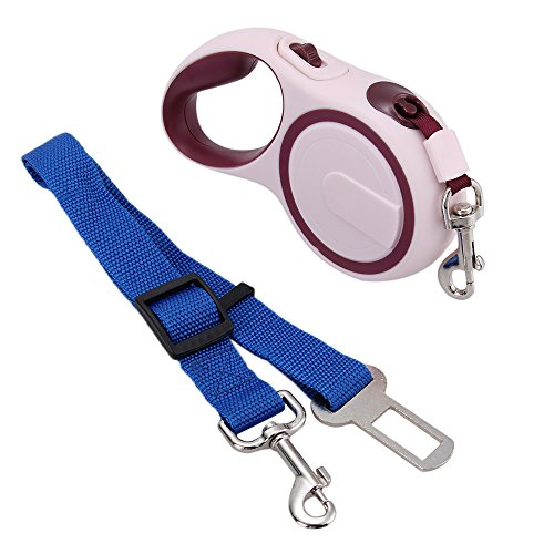 Produktbild Foxpic 3m Hundeleine Führleine Roll-Leine aus ABS bis max.15kg / 33LBS für Hunde Braun (Auto Sicherheitsgurt als Geschenk)