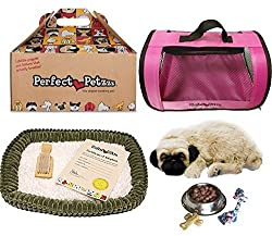 Perfect Petzzz Huggable Pug Puppy with Pink Tote For Plush Breathing Pet and Dog Food