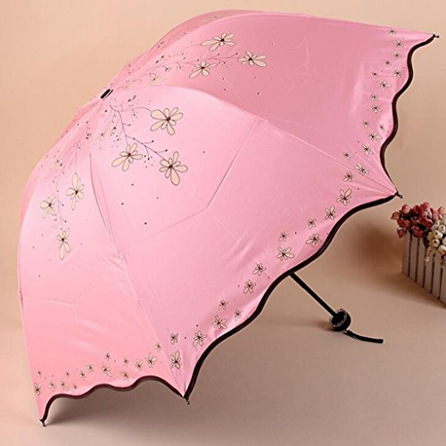 GTWP GT Regenschirm Manual Mode 3 Folding Umbrella kreativ, Willow blumen Stockschirm Robuste winddicht Anti-UV-Sonnenschutz Dach