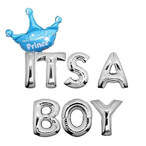 Yalulu It's A Boy/Girl Taufe Dekoration Luftballons Baby Füßchen Blau Folienballons für Luft als Geschenk zur Geburt Eines Mädchen/Jungen, Baby-Shower-Party Deko Oder Überraschung (Boy Silber)