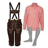 MS-Trachten Trachtenset Herren Lederhose Trachtenhose mit Hemd und Strümpfen (50, rot)