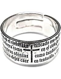 Sortija plata Ley 925m Padre Nuestro oxidada ajustable [AB5300]