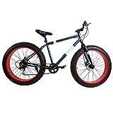 Ridgeyard Fat Bike 26' 7 velocità Cruiser Bicycle Mountainbike Spiaggia Passaggio Viaggiare Sport (Blu Marina)