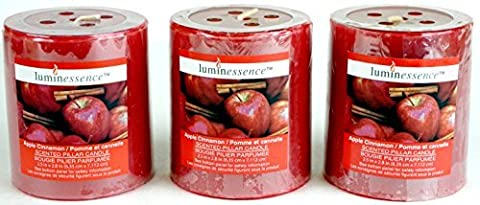 Luminessence(Tm) Apple Cinnamon Scented Pillar Candles, 3 Pillar Candles In Each Pack - - Wonderful Aroma - Long Lasting - Inexpensive - Each Soy Wax Candle Has A Wonderful Apple Cinnamon Scent by Luminessence(tm)