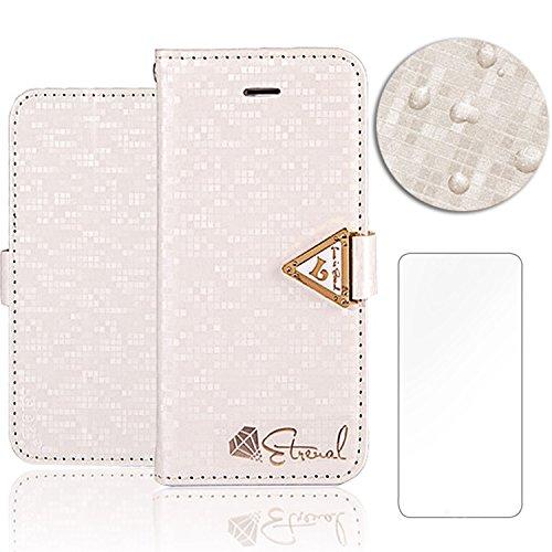 3D Bling Case pour iPhone 6 Plus 6S Plus Housse Étui ,Portefeuille Universelle Flip Bookstyle Shell Cas in PU cuir Diamant Bling Bling Strass simili cuir avec perle Paillettes Cristal Sparkle Glitter  PU Blanc