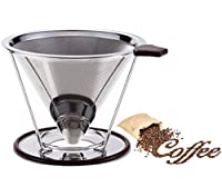 Stainless Steel Coffee Filter - Reusable Double Fine Mesh Pour Over Coffee Dripper- Cone Coffee Dripper Paperless-Coffee Maker with Separate Stand