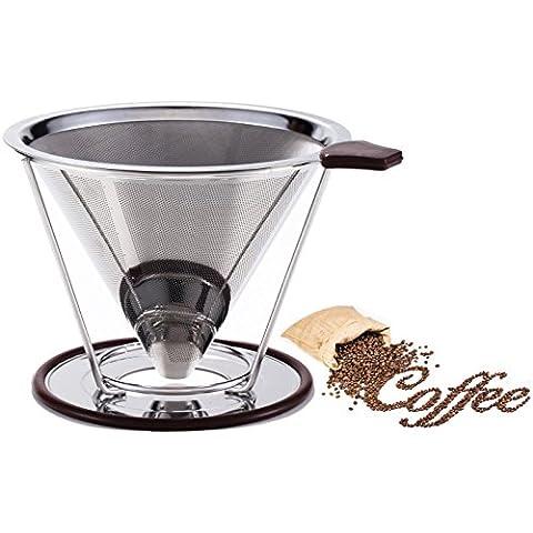 –Filtro de café reutilizable de acero inoxidable doble malla fina para más de café dripper- cono cafetera goteo paperless-coffee eléctrica con base independiente