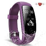 Scofit Fitness Tracker wasserdichte Aktivitätstracker, Smart Watch Bracelet mit Pulsmesser Herzfrequenzmesser, Schrittzähler, Schlaf Monitor, Kalorienzähler Fitness Uhr für Android und IOS Smartphones (Purple)