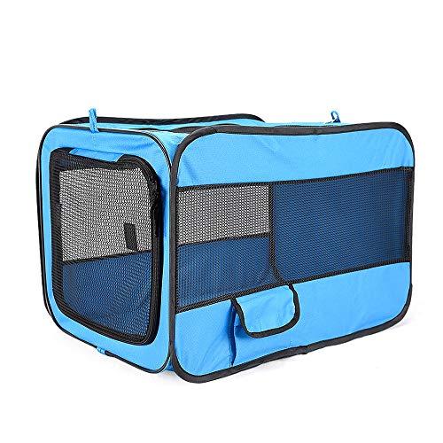 DUANQY Haustier Autokindersitz Handtasche, weiche Seite Oxford Seite erweiterbar Faltbare große Raumhaustiertasche, geeignet für Katzen und Hunde Reise Zwinger, blau,S -