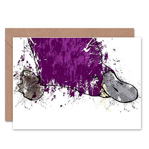 Wee Blue Coo LTD Duck Billed Platypus Paint BLANK Greetings Card by John TROWELL -