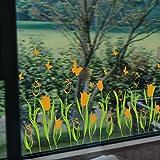 MiniWall Il Tulip decorata calorosamente autoadesiva adesivo parete vetrina negozi vetrina Glass-Like Windows Wireless i calci d'angolo linea,arancione,Re