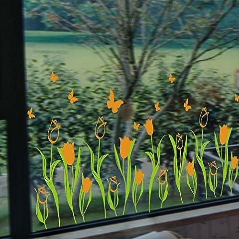 GU LIANG Tulip Adesivi Per Finestra Arancione