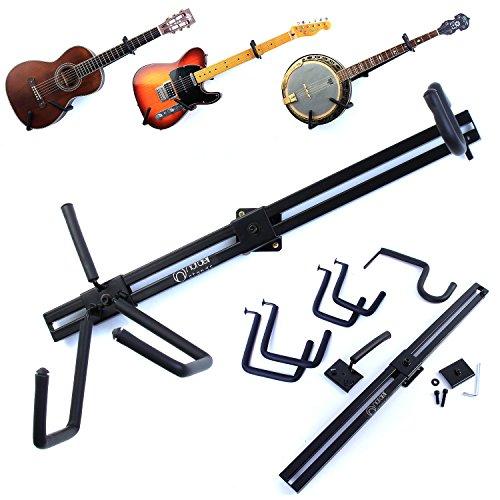 Soporte de pared horizontal para guitarras eléctricas, acústicas, bajos y ukeleles
