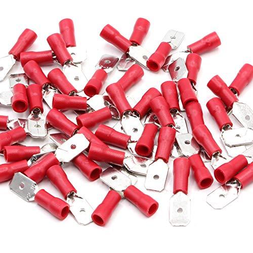 10 Stück Flachstecker männlich rot 0,5-1,5 mm² Steckbreite 6,3 mm Teilisoliert PVC Steckverbinder Kabelsteckschuhe Kabelschuhe Verbinder aus Messing verzinnt (Rot 10 Subwoofer)