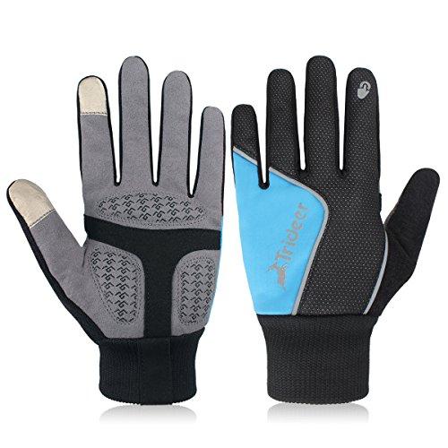 Trideer Winterhandschuhe, Outdoor Windundurchlässig Radfahren Jagd Kletter Sport Touchscreen Handschuhe (black+blue, S)