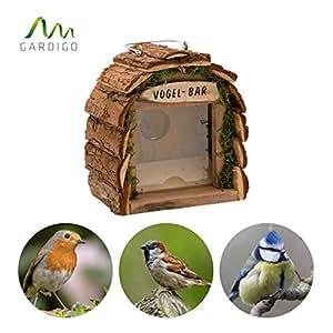 Gardigo Mangiatoia per Uccelli | Stazione per Alimentazione in Legno naturale | Ideale per decorazione giardino