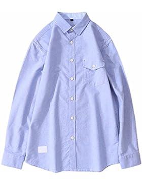 QIYUN.Z El Color Sólido De La Manera De Los Hombres / El Botón Oxford De Las Rayas Abajo De La Camisa Ocasional