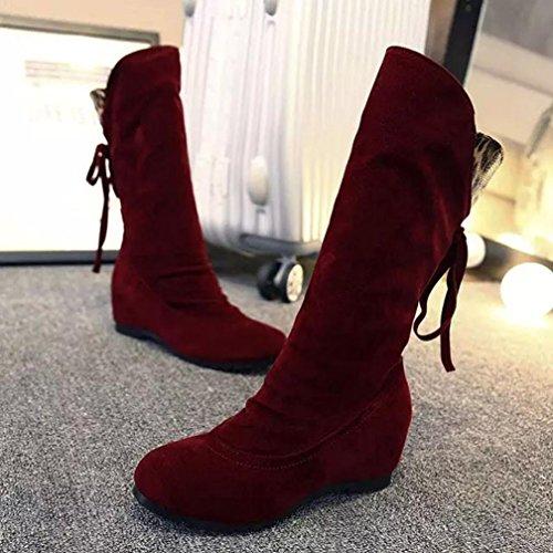Chaussures Coloré Plates Classiques Chaudes Tm Rouge Fourrées Femme qvHRwTpn