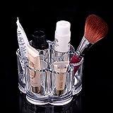 FAS1, portatrucchi quadrato in acrilico trasparente, contenitore per make-up, bastoncini cotton fioc, dischetti e batuffoli di cotone, porta accessori, Flower Shape