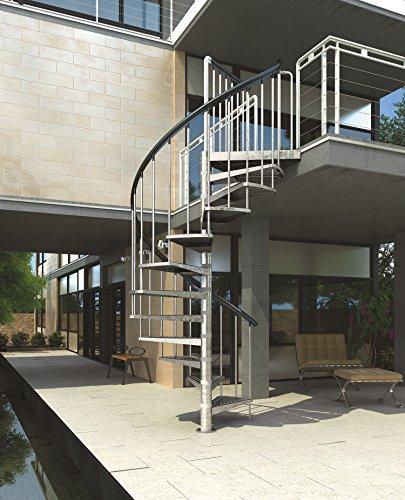 Außenspindeltreppe, Wendeltreppe, Geschosshöhe: 246-282 cm, Durchmesser 125 cm, Stufen und Podest: Metall gelocht, Gartentreppe