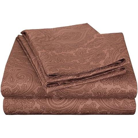 Impressions 600 fili, tasca profonda, soffice Anti grinze per letto matrimoniale, fantasia Paisley, in misto cotone, colore: cioccolato, California King, 4 pezzi