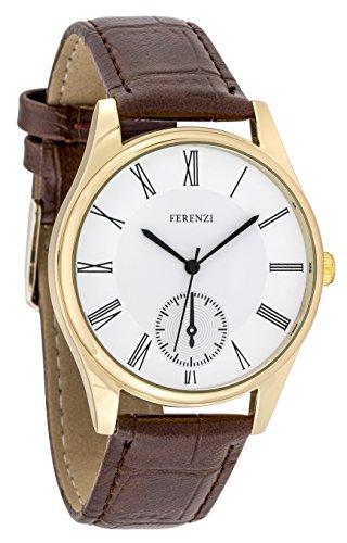 ferenzi Herren | Classic Casual römischen Zahl gold Armbanduhr mit Braun PU Croc Leder | fz17404