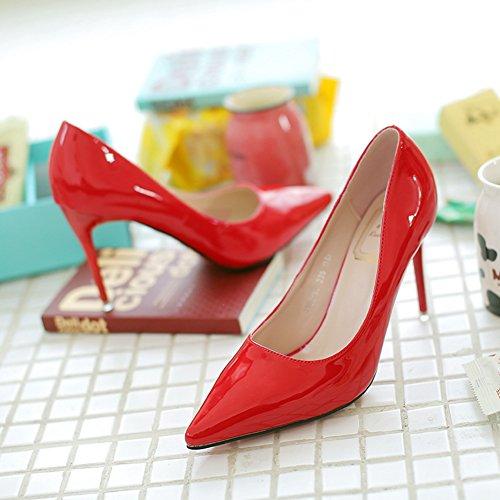 Damen Pumps Spitze Spiegelleder Glänzende Slip On Schöne High Heels Rot